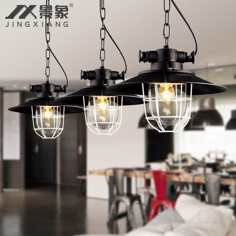 Picture retro chandelier lighting american country industrial wind off the restaurant bar coffee shop engineering personality single head