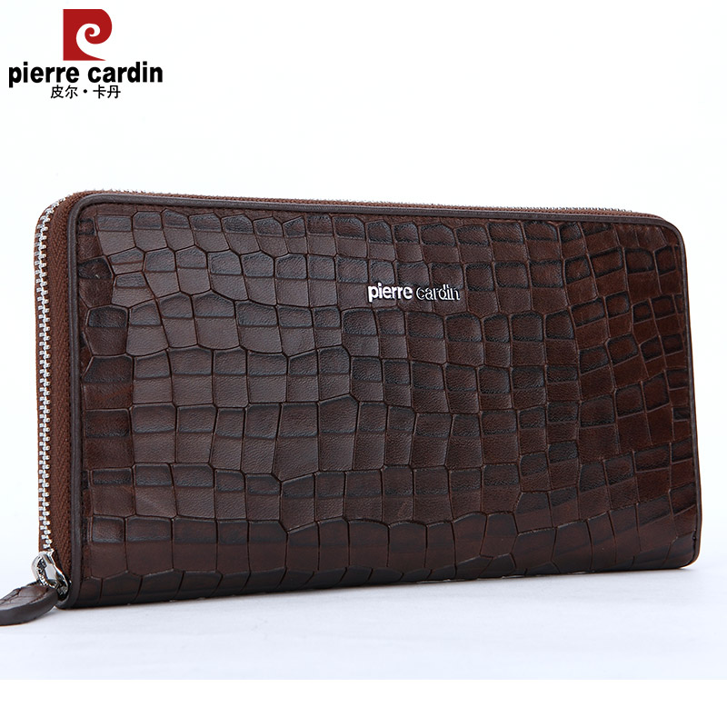 Pierre cardin new men's first layer of leather men handbag clutch bag brown leather clutch bag fashion plaid
