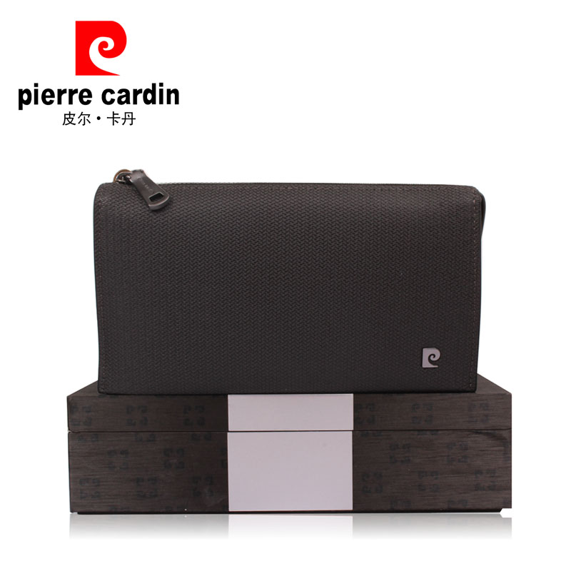Pierre cardin/pierre cardin men's leather handbag business casual clutch bag large capacity wallet