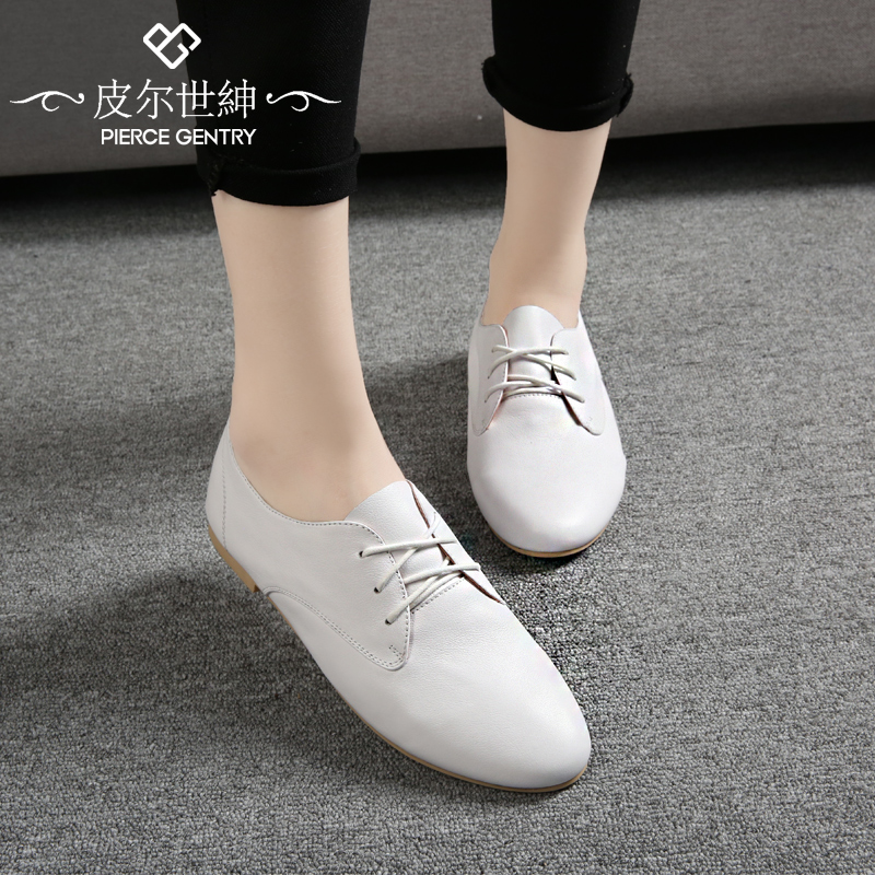 Pierre world gentry autumn new korean version of casual shoes lace flat shoes white shoes shallow mouth round flat shoes with a single female