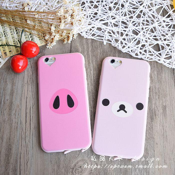 Pig love hole iphone6splus whole package phone shell thin silicone soft shell apple 5.5 dust plug shell