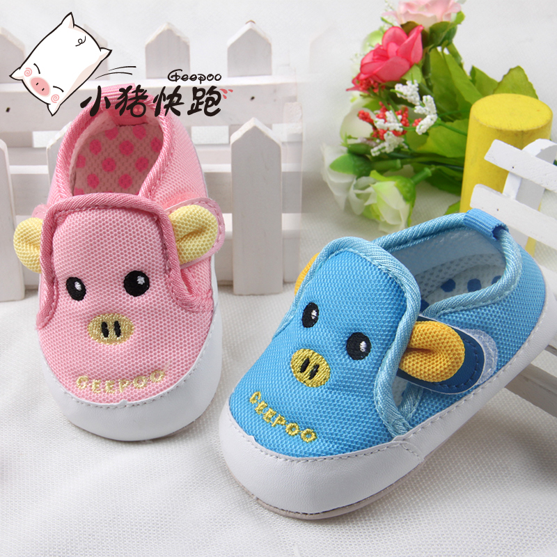Pig run baby shoes female baby shoes 0-1-year-old spring toddler shoes soft bottom shoes spring shoes function summer