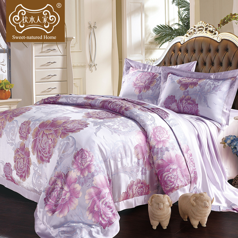 Pillow water people wide heavy silk jacquard silk wedding bedding a family of four 100 silk bedding