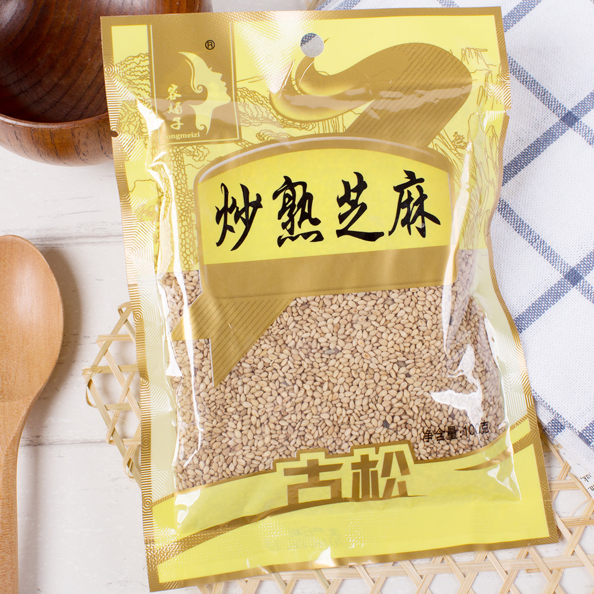 Pines fried sesame white sesame seeds 100g cereals instant stocking yolk crisp baking ingredients