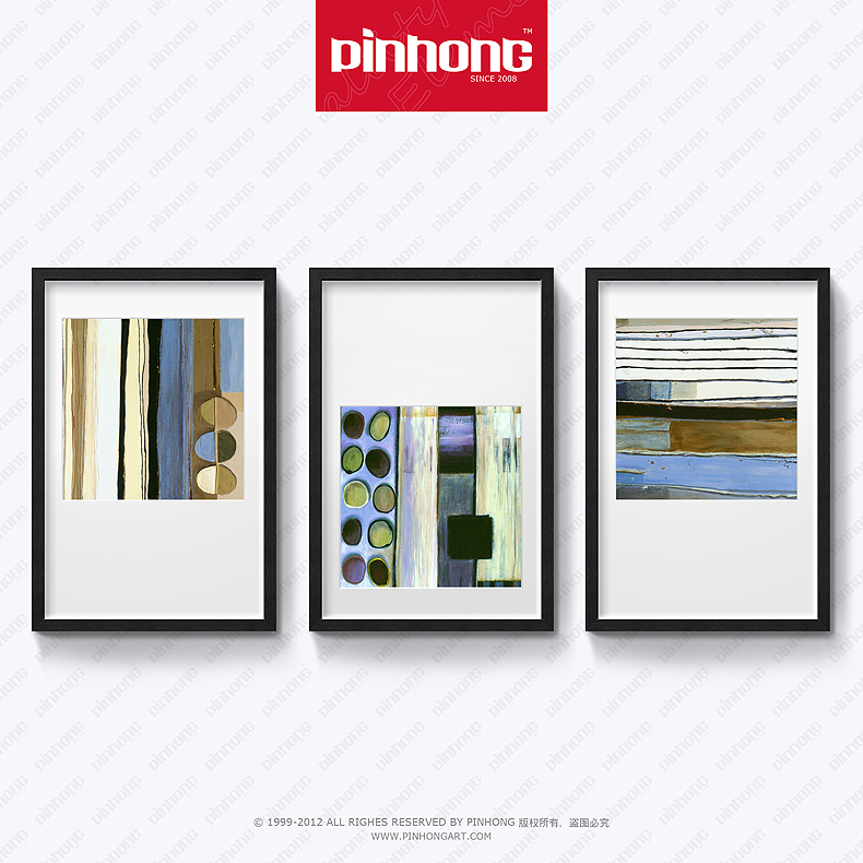 Pinhong decorative painting the living room modern minimalist scandinavian wood frame framed painting abstract paintings triple