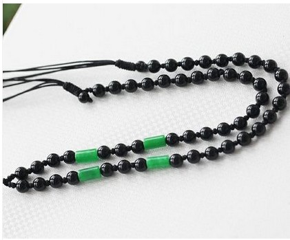 Pinjing kee wild men and women hand rope lanyard gold emerald jade crystal pendant necklace rope prussian blue