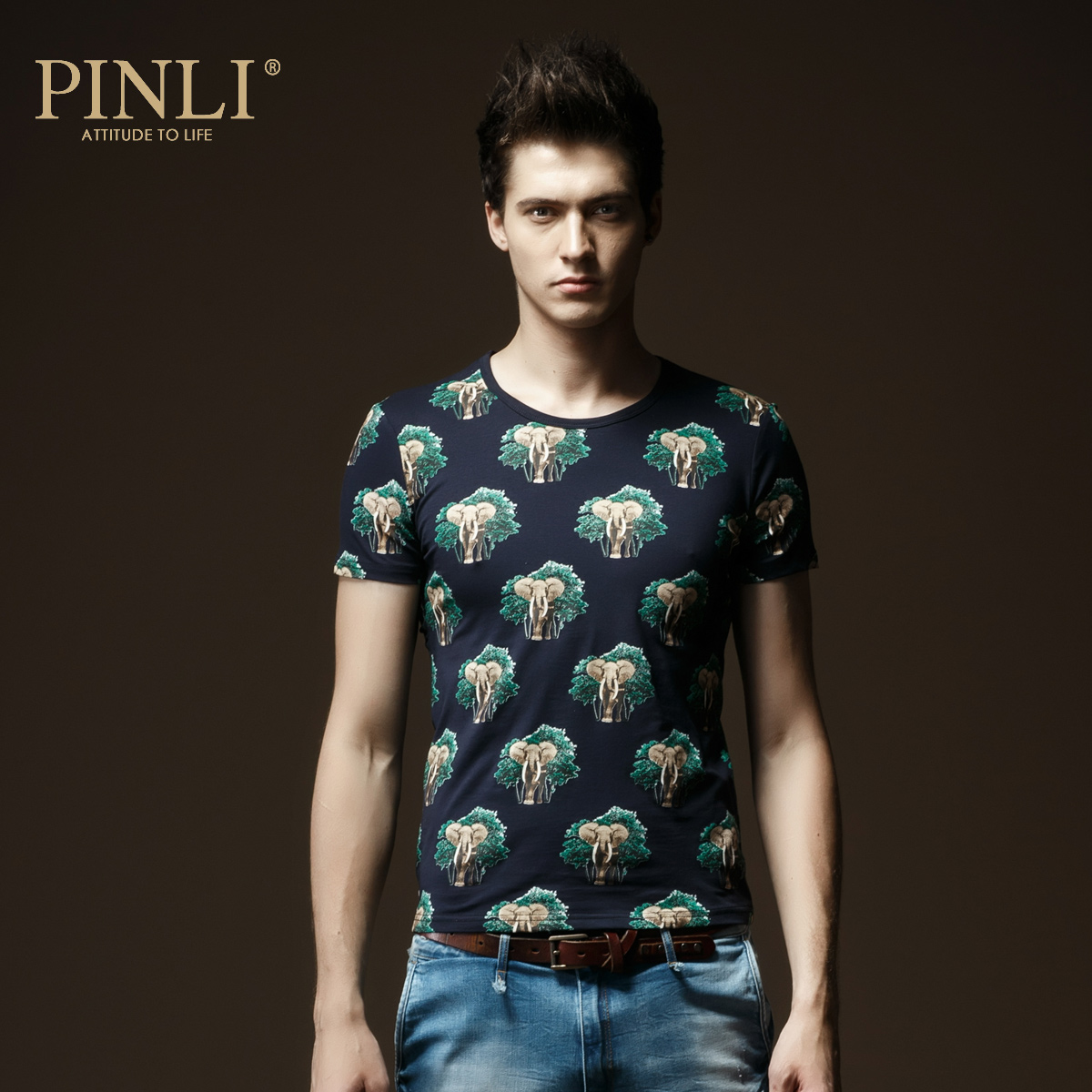 Pinli products stand 2015 new spring and summer men's fashion slim round neck short sleeve t-shirt men bottoming shirt tide 3757