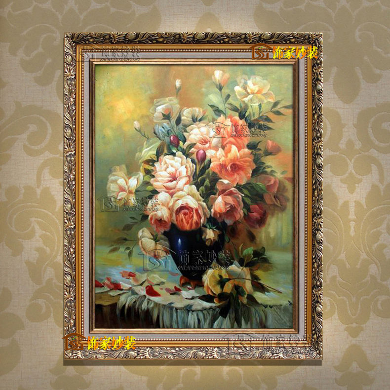 PK254 painted oil painting [rich flowers] classical european living room bedroom marriage room decorative painting framed painting restaurant