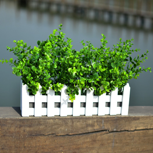 Plastic flower artificial flowers artificial flowers decorative flowers for indoor and outdoor wooden fence placed potted plants placed floral suit pastoral
