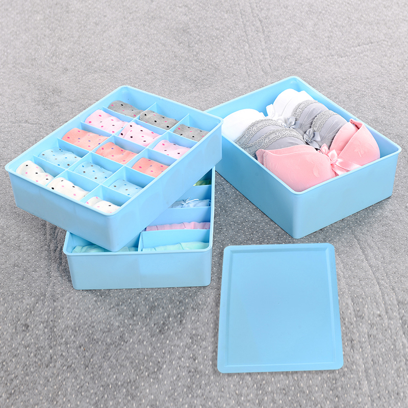 Plastic storage box three sets of underwear storage box covered storage box bra underwear socks finishing box drawer storage cabinets