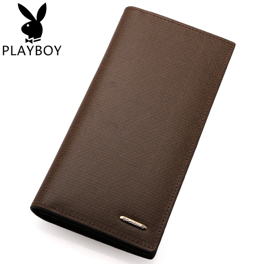 Playboy men's wallet genuine leather long wallet upscale business men wallet fashion purse card package