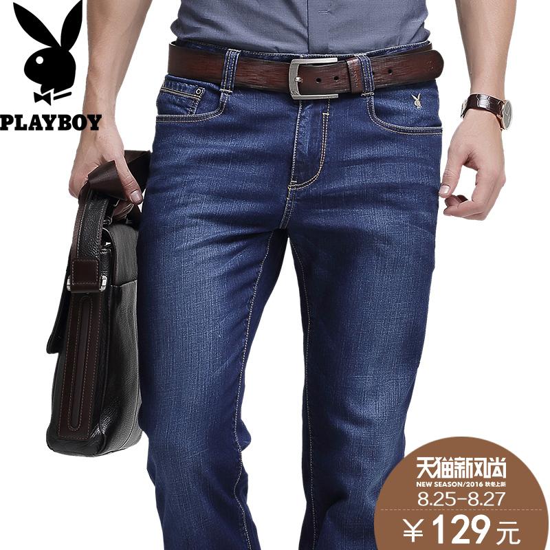 91d62337375 Get Quotations · Playboy stretch jeans male simple denim trousers men  straight slim long pants male business