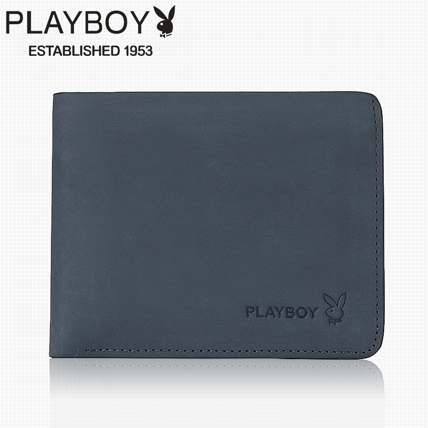 Get Quotations · Playboy wallet men short paragraph cowhide leather men's wallet wallet card package wallet genuine blue tide