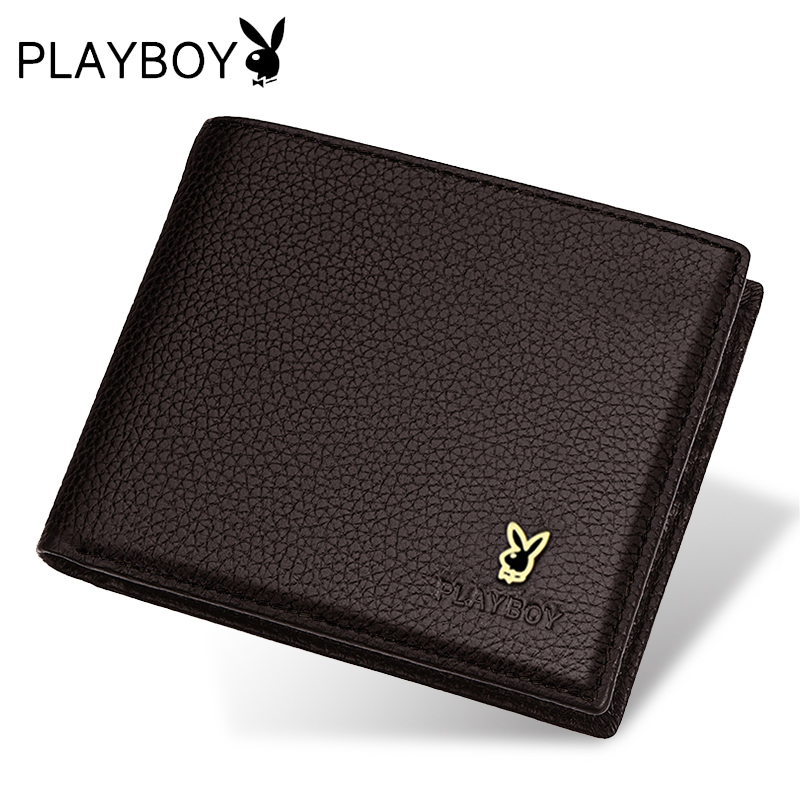 Playboy wallet men short paragraph cross section cowhide leather wallet thin models korean version of the influx of men and young students