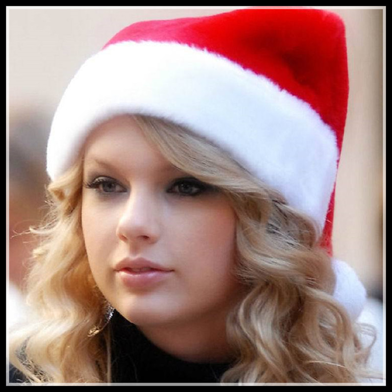 Plush velvet christmas hats adult children christmas christmas hats santa claus hat wine bar party dress costumes