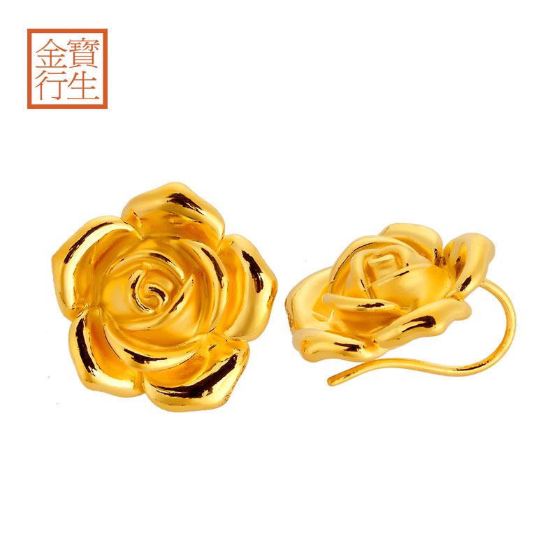 Po sang gold gold earrings gold earrings female models rose flowers 3d hard gold wedding suit