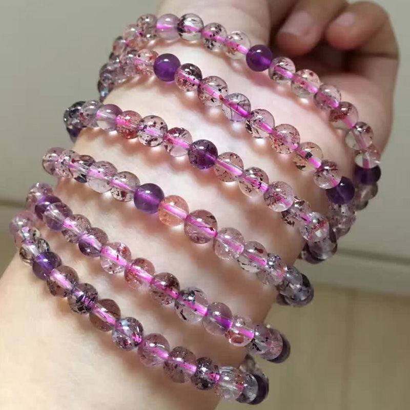 Poetry man natural trishaw bone dry purple hair crystal bracelet made of natural strawberry crystal super seven mica multiturn
