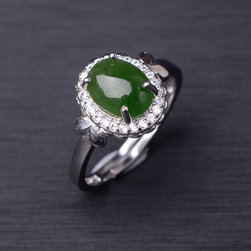 Poetry man ring rose gold plated 925 silver jewelry natural jade cabochon inlaid arrows edge white stone