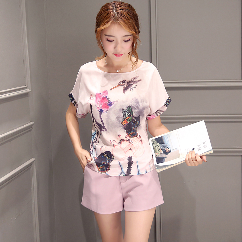 Poetry muya 2016 summer new korean version of the retro print shorts suit two sets of wide leg pants women's fashion