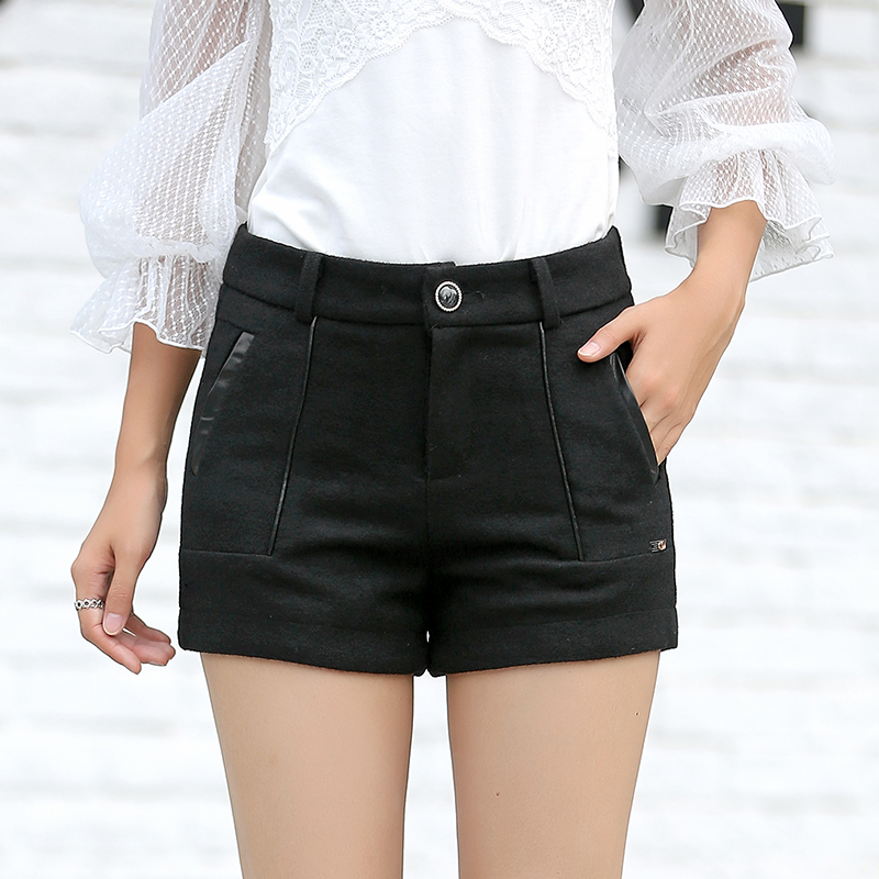 Poetry muya shorts 2016 korean version of the black wide leg pants casual pants outer wear female backing woolen shorts female autumn