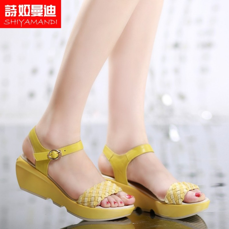 Poetry ya mandi shoes boutique new casual genuine tide spell color word type strap open toe wedge sandals soft surface