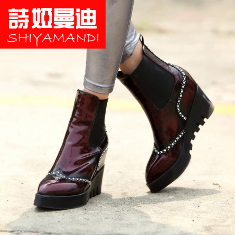 Poetry ya mandi shoes casual fall and winter fashion boutique ladies brand new pointed waxed vintage burgundy boots
