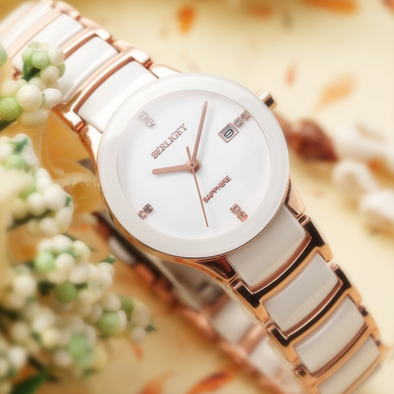 Polaroid jazz quality watches female white ceramic watches female korean waterproof quartz watch couple watch ceramic female form