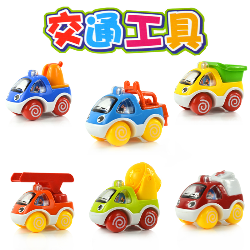 Polaroid mini q version of the back car toys for children fire engineering treasure treasure cartoon car toy car toy car kit