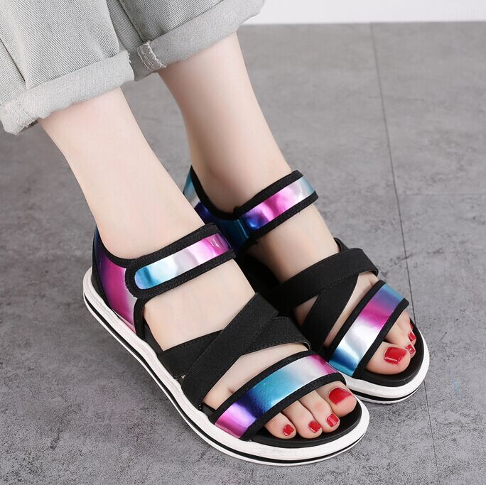0c62112609af82 Get Quotations · Poly 2016 new summer sandals female korean flat shoes with flat  roman sandals open toe sandals