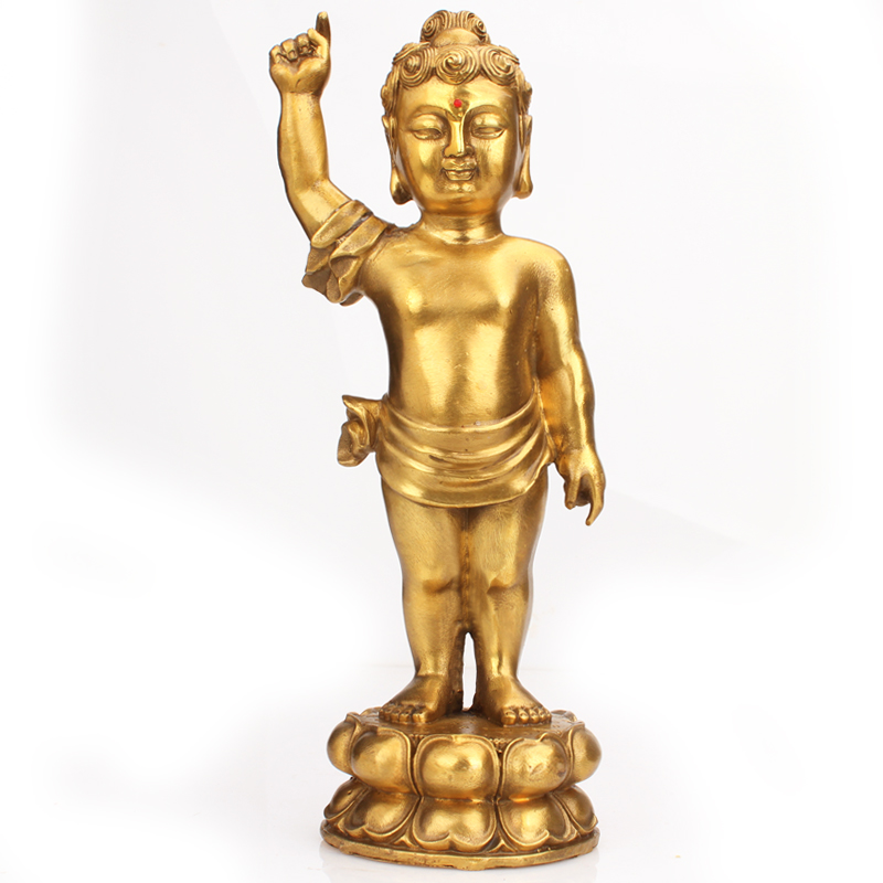 Poly edge feng shui house opening pure copper buddha buddha temple copper statue of buddha sakyamuni buddha ornaments prince