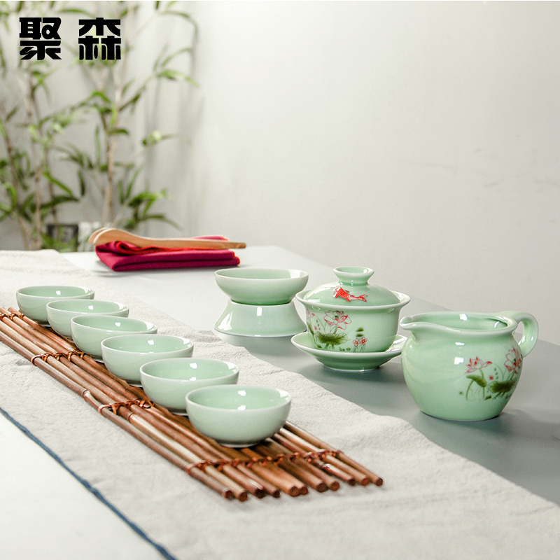 Poly sen painted carp longquan celadon ceramic package of kung fu tea set covered tea cup creative gifts specials