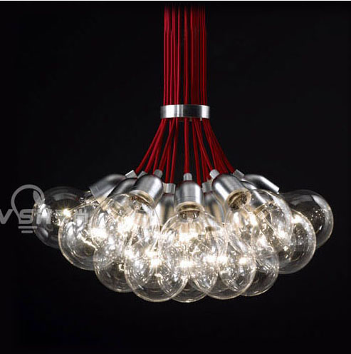 Poly yet simple and modern red string glass bubble chandelier ball chandelier lamp creative living room dining room chandelier clothing store
