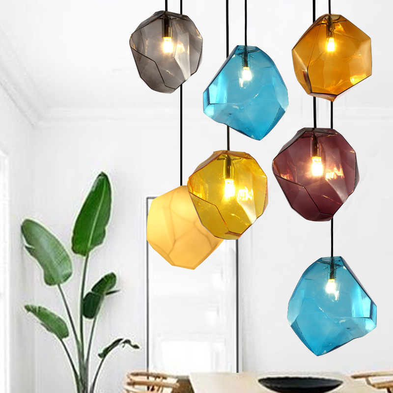 Poly yet simple and modern restaurant chandelier three creative personality chandelier bar aisle colored crystal glass ice