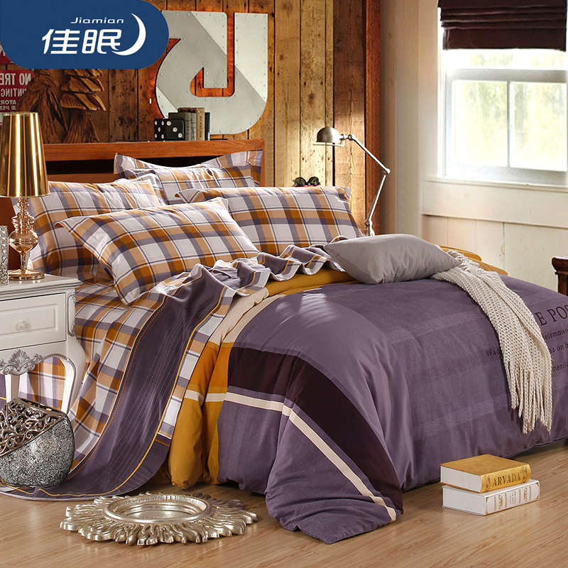 Poor sleep textile cotton printed cotton mill fluff bedding style sheets thick autumn and winter denim bed
