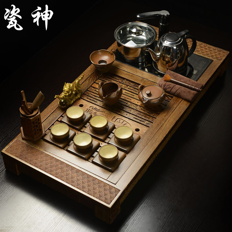Porcelain god king wenge wood rosewood tea tray drainage saucer tea sea kung fu tea tray tea sets