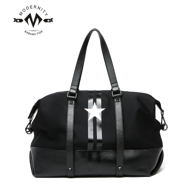 116bb35d23b6 Get Quotations · Portable canvas travel bag man business travel boarding bag  large capacity female models leather stitching short