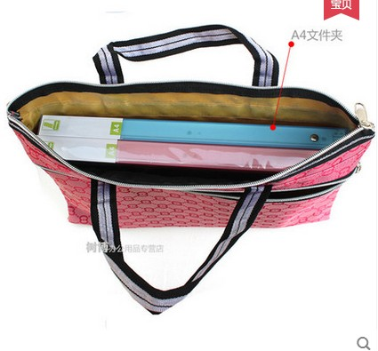 Portable kits a4 paper bags double thick waterproof canvas zipper bag document bag men and ladies office paper bags
