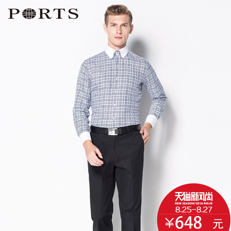 Ports/ports counter genuine 2015 new autumn and winter men's business fashion classic plaid cotton shirt
