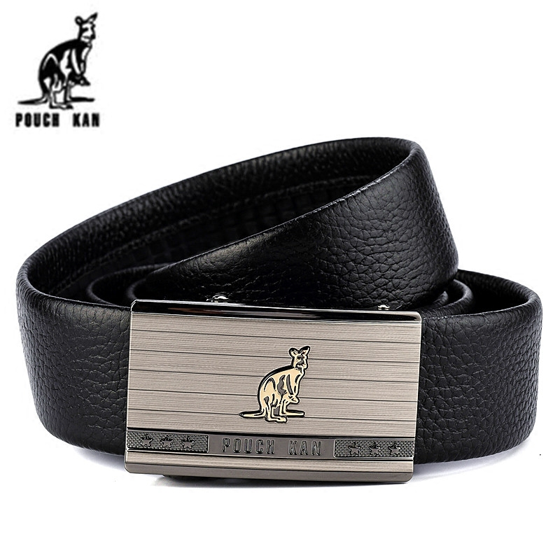 Pouch kan kangaroo leather men's leather belt worn inside cowhide automatic buckle leather belt jeans belt leather belt male