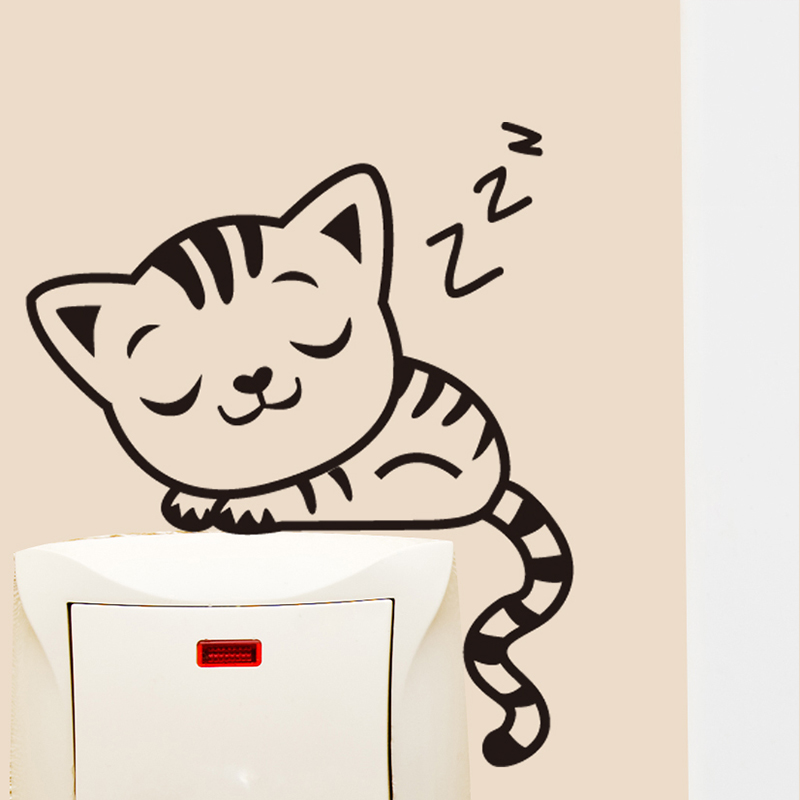 Power switch stickers wall stickers european creative home decorations cute animal cartoon stickers socket personality