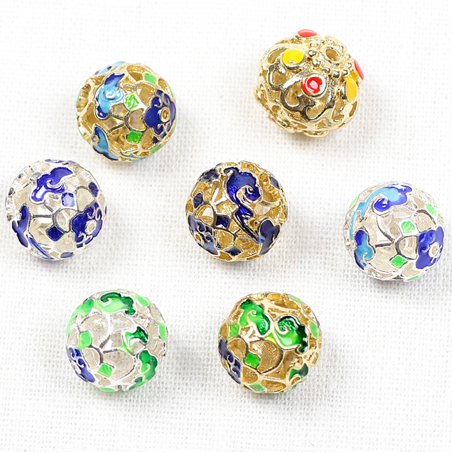 Prachanda cloisonne hollow tibetan silver spacer beads accessories large pieces of colored drip di y handmade filigree flower ball loose beads