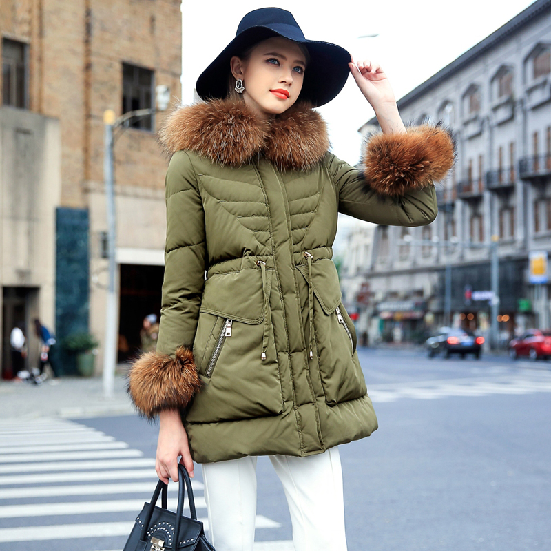Prase women 2015 winter new army green jacket girls long section of thick down jacket women