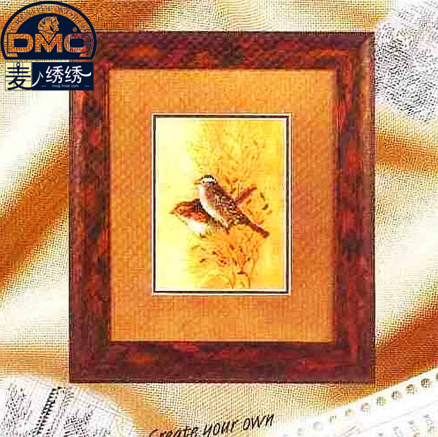Precision printing dmc cross stitch kit genuine monopoly slightly magazine animal these meansused two birds beige cloth