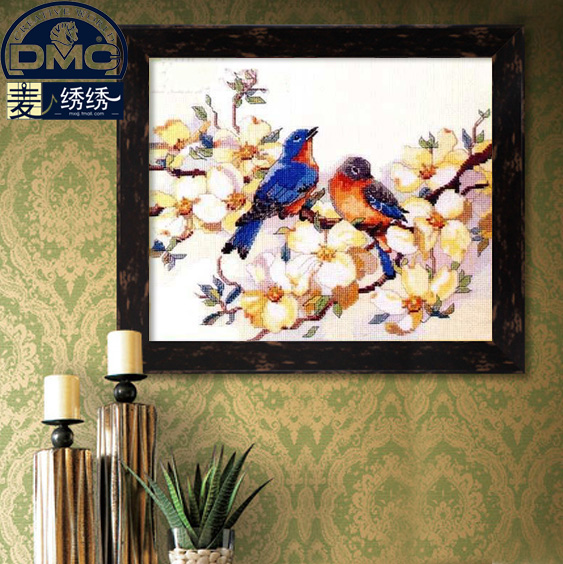 Precision printing france dmc cross stitch kit monopoly boutique flower animals living room to spend between bird lovers