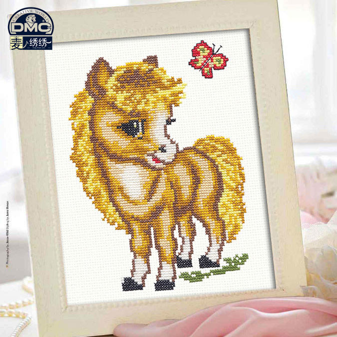 Precision printing france dmc cross stitch kit monopoly boutique new cartoon animal yellow foal