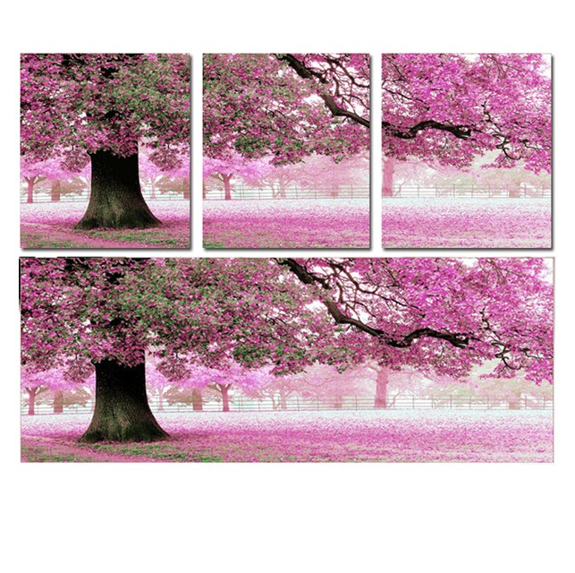 Precision printing stitch substantial new living room full embroidered item where love cherry trees landscape triptych