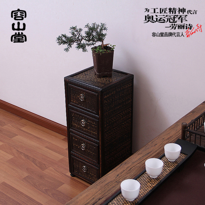 Preferably darongshan hall bamboo wood tea cabinet cupboard drawer shichiku museum of ancient tea storage rack cup holder