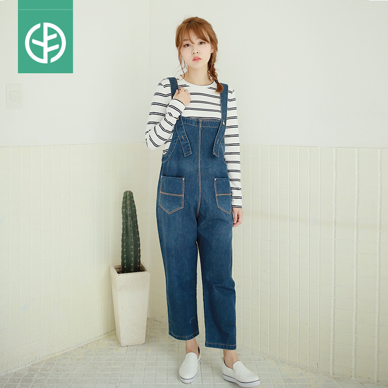 ece74ccf3d08 Get Quotations · Pregnant women jeans overalls suit pregnant women outer wear  trousers pants feet care belly pants korean