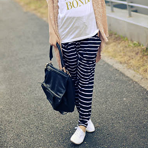 Pregnant women leggings autumn and winter outer wear trousers autumn thin section korean version of casual striped pants for pregnant women pregnant women harem pants