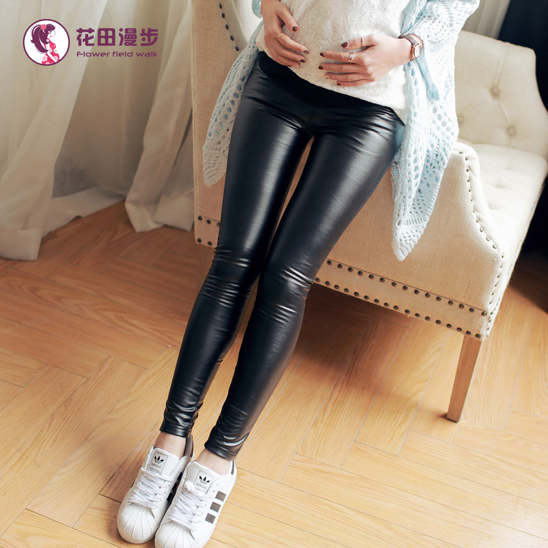 Pregnant women outer wear leather pants belly care of pregnant women maternity pants trousers autumn pu leather pants feet pencil pants fall Pants
